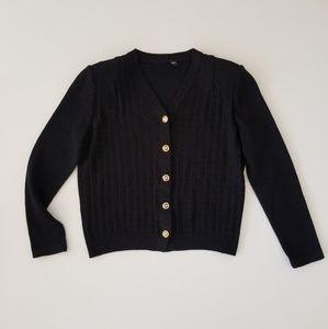 St John Black Santana Knit Cardigan Gold Buttons